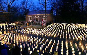 Carter House lit by thousands of candles to symbolize the thousand of soldiers who died unnecessarily that terrible night in November, 1864